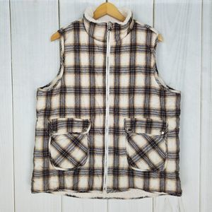 Anthro Entro Plaid Flannel Faux Sherpa Puffy Vest